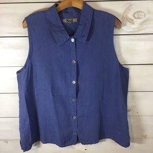 Flax | 100% Linen Purple Button Down Tank Top